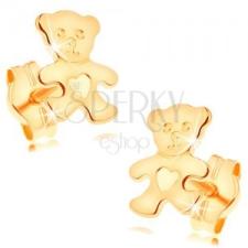 Fülbevaló 14K sárga aranyból - csillogó lapos maci szívvel a hasán fülbevaló