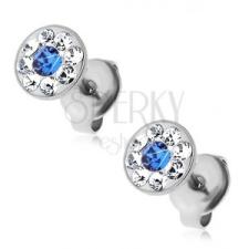 Fülbevaló 316L acélból kék és átlátszó Swarovski kristályokkal, stekkerek fülbevaló
