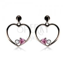 Fülbevaló 925 ezüstből, acélszürke szív körvonal, rózsaszín szív, átlátszó cirkónia fülbevaló
