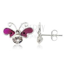 Fülbevaló 925 ezüstből - lepke, lila szárnyak, cirkonköves test fülbevaló