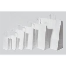 . Füles papírtasak, sodrott füles, fehér, 32x12x41 cm kézitáska és bőrönd