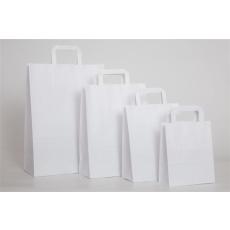 . Füles papírtasak, szalagfüles, fehér, 26x12x35 cm