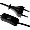 GAO Hosszabbító, szerelt vezeték kapcsolós, 1,5m 2x0,75mm vezetékkel, fekete
