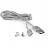 Gembird Magnetic USB charging combo cable, silver, 1m