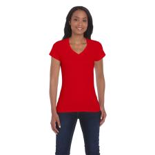 GILDAN női v-nyakú póló, piros női póló