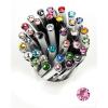 """. Golyóstoll, Crystals from SWAROVSKI®, fehér, 14cm""""Elegante"""", világos rózsaszín kristállyal"""
