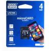 Goodram microSDHC 4GB Class 4 memóriakártya SD adapterrel Artisjus matricával