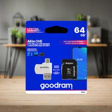 Goodram microSDHC 64GB Class 10 memóriakártya SD adapterrel, Micro USB/USB OTG kártyaolvasóval és Artisjus matricával memóriakártya