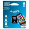 Goodram microSDHC 8GB Class 4 memóriakártya SD adapterrel Artisjus matricával - M40A-0080R11