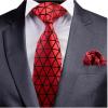 GUSLESON geometrikus mintás nyakkendő és díszzsebkendő, piros-fekete
