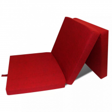 Háromrét összehajtható piros matrac 190 x 70 x 9 cm ágy és ágykellék