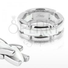 Háromsoros acél gyűrű - fehér kerámia sáv, flexibilis gyűrű