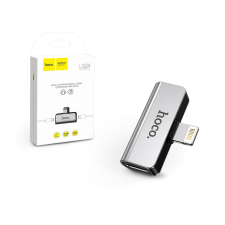 Hoco HOCO lightning + lightning adapter egyidőben történő töltéshez és zenehallgatáshoz - 5V/2A - HOCO LS24 - ezüst mobiltelefon, tablet alkatrész