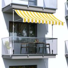 Hoppline Feltekerhető napellenző, sárga csíkos, 200x120 cm kerti bútor
