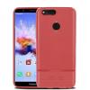 Huawei Honor 7X, TPU szilikon tok, bőrhatású, szálcsiszolt, piros