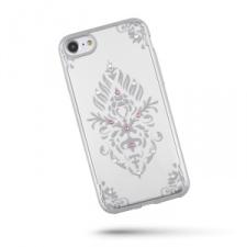Huawei P10 Lite, TPU szilikon tok, Beeyo Floral, köves virágminta, ezüst tok és táska