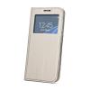 Huawei Smart Look Huawei P20 Lite oldalra nyíló bőrhatású ablakos könyv tok szilikon belsővel arany