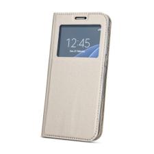 Huawei Smart Look Huawei P20 Lite oldalra nyíló bőrhatású ablakos könyv tok szilikon belsővel arany tok és táska