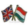 Hunbolt Kitűző, páros zászló Angol -Magyar jelvény 26x15 mm