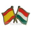Hunbolt Kitűző, páros zászló Spanyol-Magyar jelvény 26x15 mm