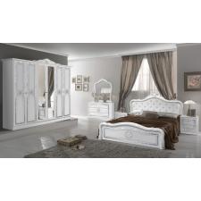IB Luisa olasz hálószoba fehér-ezüst színben, 4 ajtós szekrénnyel és 180 cm-es ággyal ágy és ágykellék