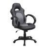 Irodai szék, fekete ekobőr + szürke, ekobőr, NELSON