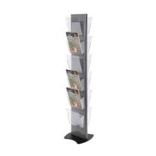 Jansen Display Torre forgó prospektus állvány, 12 rekesz, szürke% irodai kellék