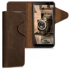 kalibri Samsung Galaxy J6+ bőr flip tok - barna tok és táska