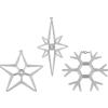 Karácsonyi dekoráció ablakra - készlet3 csillag és hópehely LED