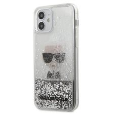 Karl Lagerfeld KLHCP12SGLIKSL iPhone 12 mini ezüst tok Ikonik Liquid Glitter telefontok tok és táska