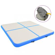 Kék PVC felfújható tornamatrac pumpával 200 x 200 x 20 cm jóga felszerelés