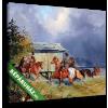 Képáruház.hu Alexander von Bensa: Lovasok a vízben  vagy Lovak hűtése (színverzió 1)(25x20 cm, vászonkép)