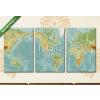Képáruház.hu Premium Kollekció: Amerika központú fizikai világtérkép. Vintage szín. Nincs szöveg(125x60 cm, L02 Többrészes Vászonkép)