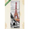Képáruház.hu Premium Kollekció: Eiffel tower monochrome and red(125x40 cm, B01 Többrészes Vászonkép)