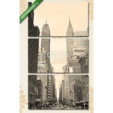 Képáruház.hu Premium Kollekció: New York City Manhattan street view black and white(125x70 cm, L01 Többrészes Vászonkép) grafika, keretezett kép