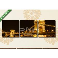 Képáruház.hu Premium Kollekció: Night view of the Chain Bridge in Budapest(125x40 cm, B01 Többrészes Vászonkép) grafika, keretezett kép
