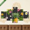 Képáruház.hu Premium Kollekció: Pinapples and Tropical Flowers Background -Vintage Seamless Patt(135x70 cm, S01 Többrészes Vászonkép)