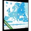 Képáruház.hu Premium Kollekció: vector Europe time zones high detailed map with location and clo(25x20 cm, vászonkép)