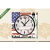 Képáruház.hu Vászonkép óra, Premium Kollekció: New York City vintage collage, US flag background(25x25 cm, C01)