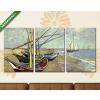 Képáruház.hu Vincent Van Gogh: Halászcsónakok a parton Saintes-Maries-nál(125x60 cm, L02 Többrészes Vászonkép)