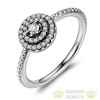Kerek virág ezüst gyűrű, 9