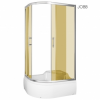 Kerra AZALIA 120 íves aszimmetrikus mélytálcás zuhanykabin,balos beépítési oldallal barna füstös üveggel, 120x80x195 cm-es méretben