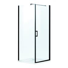 Kerra Lagos szögletes zuhanykabin alacsony tálcával, 89x89x195,5cm - fekete profil, víztiszta üveg fürdőszoba kiegészítő