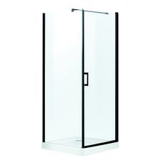Kerra Lagos szögletes zuhanykabin tálcával, 89x89x206cm - fekete profil, víztiszta üveg fürdőszoba kiegészítő