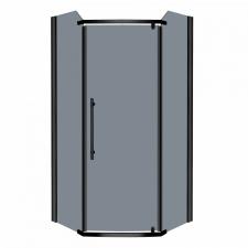 Kerra Prato szögletes zuhanykabin tálca nélkül 90x90x190cm - fekete profil, grafit üveg fürdőszoba kiegészítő