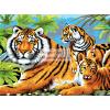 Kifestő készlet akrilfestékkel, ecsettel, gyerekeknek 11 éves kortól - 30x40 cm - Tigris és kölykei