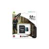 Kingston Memóriakártya, microSDXC, 64GB, C10/UHS-I/U3/V30/A2, adatper, KINGSTON  Canvas Go! Plus