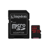Kingston Memóriakártya MicroSDXC 64GB Canvas React 100R/80W U3 UHS-I V30 A1 + Adapter