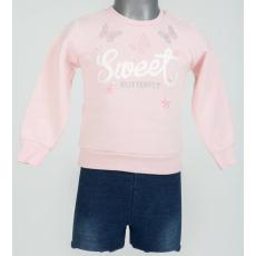 Kislány szett - Rózsaszín pulcsi, kék nadrággal