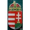 Kitűző - Magyar koronás címer, csíkozott 30 mm